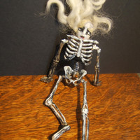 Beetlejuice inspired goth dead haunted ceramic/ resin mixed media altered creepy doll miniature