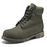Best Deal Online Timberland 10061 Leather Lace-Up Boot Men Women Shoes Army Green