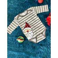 New Christmas Boys Gray Stripped Infant Santa Onesuit CH
