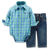 Carter's® 2-Piece Long Sleeve Bodysuit and Denim Pant Set in Blue/Green Check