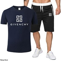 Givenchy 2019 new men and women models solid color print short-sleeved sports suit two-piece navy blue