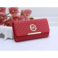 Michael Kors ladies fashion long multi-card folding flip print zipper wallet Red
