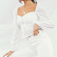 Women Square Collar Puff Sleeve Crop Tops and Blouse Female  Fashion Embroidery Shirt Chic Blusa