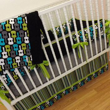 Crib Bedding MADE TO ORDER Groovy Guitar Baby Bedding