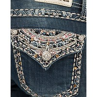 Grace in LA Women's Medium Wash with Colorful Embroidery, Sequins & Rhinestones Flap Pocket Boot Cut Jean