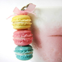 Housewarming gift, Turquoise blue, dusty pink and pastel yellow macarons stacked with a ribbon, keychain, bag charms, cute accessories