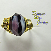 DWJ0237 Gorgeous Amethyst Dream Czech Glass Gold Wire Wrap Ring All Sizes