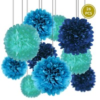 (Discontinued) Blue Party Pack Tissue Paper Pom Pom Combo Set (26 pc Set)