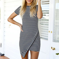 Stripe Bodycon Mini Dress with Overlap Skirt