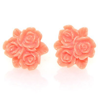Coral Vintage Lucite Rose Trio Button Post Earrings - Unique Vintage - Homecoming Dresses, Pinup & Prom Dresses.