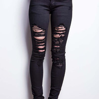 Snare Ripped Low-Rise Skinny Jeans