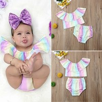 US Infant Newborn Baby Girl Kid Rainbow Top Ruffle Pant Brief Outfit Clothes Set