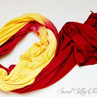 Red and Gold Hand Dyed Long Lighweight Scarf, Viscose Dark Red and Yellow Hand Dyed Scarf