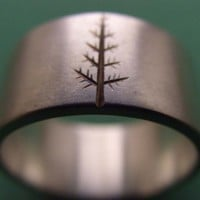 Wedding Band Oregon Pine in Sterling Silver