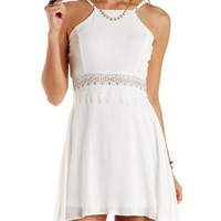 Lace-Waist Racer Front Skater Dress by Charlotte Russe