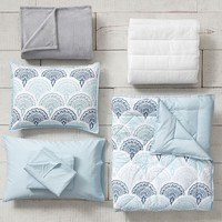 Feather Scallop Deluxe Comforter Set with Comforter, Sheet Set, Pillowcase, Mattress Pad, Pillow Inserts + Blanket