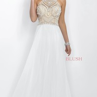 White Prom Dress with Beaded Top Intrigue by Blush