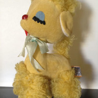 Vintage Dakin Dream Pets Yellow Poodle with tush tag cute collectible sawdust
