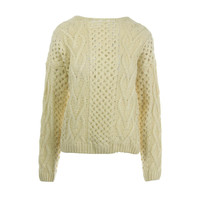 Urban Day Womens Cable Knit Long Sleeves Pullover Sweater