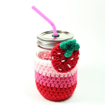 Strawberry Mason Jar Tumbler, Drinking Mug Set, Crochet Cozy With Pint Glass, Smoothie Jar, Party Cup