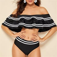 New ladies plus fat big size bikini double layer lotus leaf shoulder high waist split swimsuit