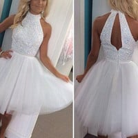 White Halter Homecoming Dress,Two Piece Homecoming Dresses,Sequin Homecoming Dress