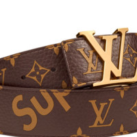 LOUIS VUITTON MENS X SUPREME MONOGRAM BELT BROWN SIZE 100 RECEIPT NEW AUTHENTIC