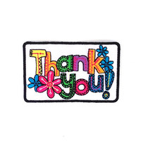 Thank you Applique Iron on Patch Size 8.5 x 5.5 cm