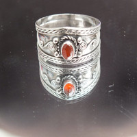 Orange Stone Centered on Nicely Accented Wide Sterling Silver Band, Size 11, Precious Metal Vintage Ring Jewelry, Free Shipping in USA