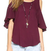 Burgundy Shoulder Cutout Chiffon Ruffled Sleeve Blouse