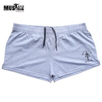 MUSCLE ALIVE Men's Training Shorts Exercise Bodybuilding Fitness Workout For Male Sportswear Gym Clothing Brand Clothes Cotton