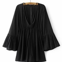 Casual Deep V-Neck Plain Wide-Leg Romper With Bell Sleeve