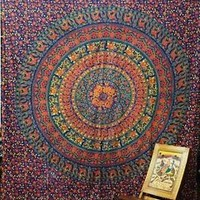 INDIAN ANIMAL SCREEN PRINTED BED SHEET SPREAD COVER MANDALA DECOR ART TAPESTRY