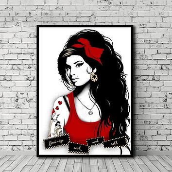 MT2614 Amy Winehouse Pop Classic Music Star Poster Painting Art Poster Print Canvas Home Decor Picture Wall Print|Painting & Calligraphy