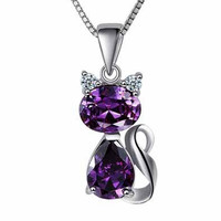 925 Sterling Silver Fine Jewelry With Gift Platinum Cute Cat Crystal Pendant Necklace = 1929932548