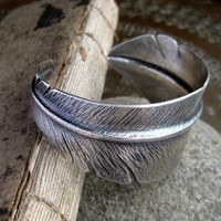 Sterling Silver Flight Feather Cuff Bracelet by relicsofanewage