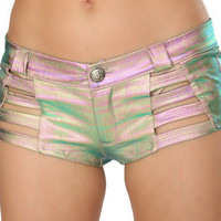 Light Multicolored Holographic Strapped Button Booty Shorts