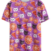 Purple Cat And Pizza Printed T-shirt