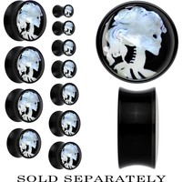 Skeleton Cameo Mother of Pearl Saddle Plug in Black Acrylic