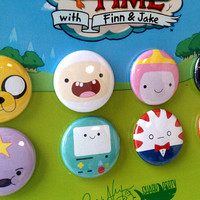 """Adventure Time Button Set - Finn, Jake and all your favourites on 1"""" pin-back buttons with a sturdy card backer, makes a great gift"""