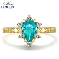 LAMOON 14K Gold 1Carat Water Drop 100% Natural Tear Apatite 925 Sterling Silver Rings for Women Jewelry Wedding Band LMRI023