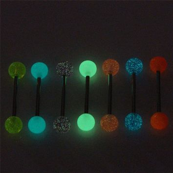 7PCS/Set Luminous Acrylic Tongue Rings