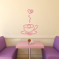 Housewares Vinyl Decal Cup Of Coffee Steam Heart Home Wall Art Decor Removable Stylish Sticker Mural Unique Design for Room Bakery Cafe Kitchen