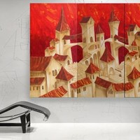 View: Surrealistic Old town in Italy palette knife Large painting XXXL PAINTINGS 120x190x4 cm OOAK orange red decor original big art ready to hang painting acrylic on stretched canvas glossy wall art by artist Ksavera | Artfinder