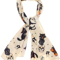 Every spooky gal needs a vintage inspired Black Cats print in her life! So why not grab this Black Cats Bad Girl Scarf to adorn your hair, neck or home? Our satiny Bad Girl scarves are the perfect length for a multitude of uses - your creativity knows no b
