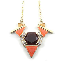 Women Exquisite Triangle olorblocked Faux Stone Necklace