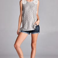 Knit Tank with Lace Shoulders and Sides