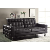 Adjustable Sofa Bed with Cup Holders, Brown