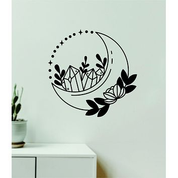 Moon Crystals v2 Decal Sticker Wall Vinyl Art Wall Bedroom Room Home Decor Teen Inspirational Girls Yoga Zen Meditate Namaste Tattoo