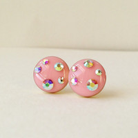 Pink Earrings, Sparkly Pale Pink Stud Earrings, Rhinestone Pink Stud Earrings, 10 mm Stud Earrings, Hypoallergenic, Resin Jewelry, For Her